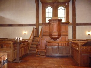 """Pulpit of the Hingham, MA, """"Old Ship"""" Meetinghouse"""